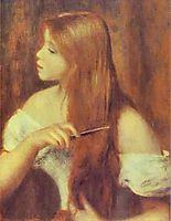 Young Girl Combing Her Hair, renoir