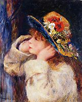 Young Girl in a Hat Decorated with Wildflowers, 1880, renoir
