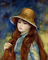 Young girl with straw hat, 1884-1887, renoir