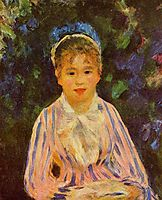 Young Woman in a Blue and Pink Striped Shirt, 1875, renoir