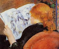Young Woman Reading an Illustrated Journal, c.1880, renoir