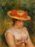 Young Woman in a Straw Hat, 1901, renoir