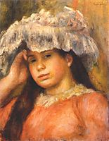 Young Woman Wearing a Hat, 1894, renoir