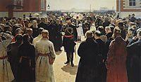 Aleksander III receiving rural district elders in the yard of Petrovsky Palace in Moscow, 1886, repin