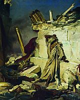 Cry of prophet Jeremiah on the Ruins of Jerusalem (on a Bible subject), 1870, repin