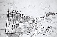 Fishing nets. Shiryaevo., 1870, repin