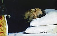 Historian Nikolai Kostomarov in a coffin, 1885, repin