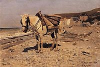 Horse for the stones collecting in the Vela, 1874, repin