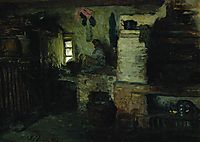 In the hut, 1895, repin