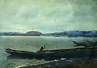 Landscape of the Volga with boats, 1870, repin