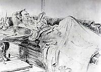 Leo Tolstoy reading, 1891, repin