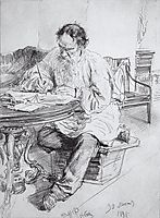 Leo Tolstoy working at the round table, 1891, repin