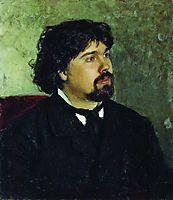 Portrait of the Artist Vasily Surikov, 1885, repin