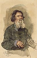 Portrait of a bearded peasant, 1879, repin