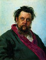 Portrait of the Composer Modest Musorgsky, 1881, repin