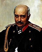 Portrait of general and statesman Mikhail Ivanovich Dragomirov, 1889, repin