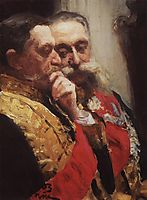 Portrait of members of State Council Ivan Logginovich Goremykin and Nikolai Nikolayevich Gerard. Study., 1903, repin