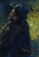 Portrait of painter Viktor Mikhailovich Vasnetsov. Study for the picture Sadko in the Underwater Kingdom., 1875, repin