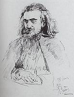 Portrait of Vladimir Sergeyevich Solovyov, 1891, repin