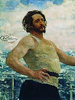 Portrait of writer Leonid Nikolayevich Andreyev on a yacht, 1912, repin