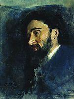 Portrait of writer Vsevolod Mikhailovich Garshin. Study., 1883, repin