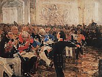 A. Pushkin on the act in the Lyceum on Jan. 8, 1815, repin