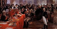 A. Pushkin on the act in the Lyceum on Jan. 8, 1815 reads his poem memories in Tsarskoe Selo, repin