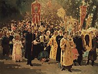Religious procession in an oak forest. Appearance of the icon, 1878, repin