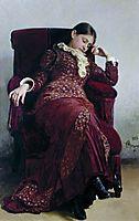 Rest. Portrait of Vera Repina, the Artist- s Wife., 1882, repin