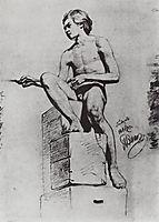 Sitting model, 1866, repin