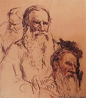 Sketches of Leo Tolstoy, 1891, repin