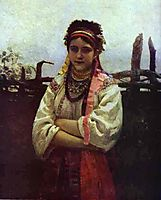 Ukranian Girl by a Fence, 1876, repin