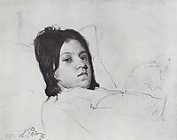 Woman-s Head (V.A. Repina lying in bed), 1872, repin
