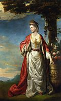 Mrs. Trecothick, Full Length, in Turkish Masquerade Dress, Beside an Urn of Flowers, in a Landscape, 1771, reynolds