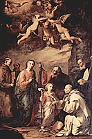 Holy Family with St. Bruno, the Carthusian monks, saints who left St. Bernard of Siena, St. Bonaventure and St. Elias, c.1635, ribera