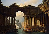Architectural Landscape with a Canal, 1783, robert