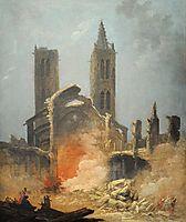 Démolition de l-église Saint-Jean-en-Grève - Musée Carnavalet, 1800, robert