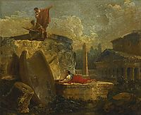 Draughtsmen in a Landscape with Antique Ruins, 1789, robert