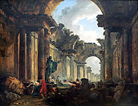 Imaginary View of the Grand Gallery of the Louvre in Ruins, 1796, robert