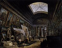 Imaginary View of the Grande Galerie in the Louvre, 1789, robert