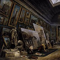 Imaginary View of the Grande Galerie in the Louvre (detail), 1789, robert