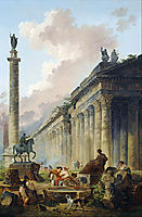 Imaginary View of Rome with Equestrian Statue of Marcus Aurelius, the Column of Trajan and a Temple, 1786, robert