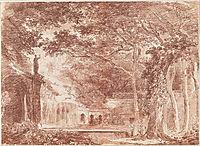 The Oval Fountain in the Gardens of the Villa d-Este, Tivoli, 1760, robert