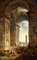 Ruins with an obelisk in the distance, 1775, robert