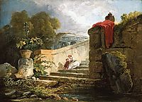 A Scene in the Grounds of the Villa Farnese, Rome, 1765, robert