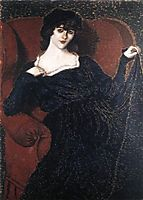 Zorka Bányai in a Black Dress, 1911, ronai
