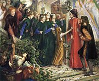 Beatrice, Meeting Dante at a Wedding Feast, Denies him her Salutation, 1855, rossetti