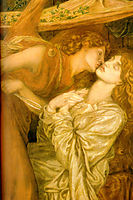 Dante-s Dream at the Time of the Death of Beatrice, detail, 1871, rossetti