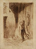 Faust. Margaret in the Church, 1848, rossetti