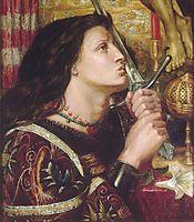 Joan of Arc Kisses the Sword of Liberation, 1863, rossetti
